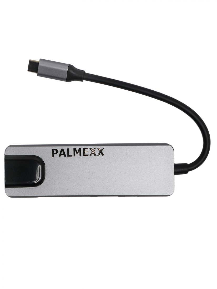 Хаб PALMEXX 5в1 USB-C to HDMI+2*USB3.0+USBC+LAN