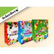 Пакет подарочный бумажный С ДНЁМ РОЖДЕНИЯ, 32х26х12 см, 3 расцветки в ассортименте