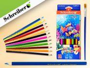 Набор цветных карандашей, 12 цв., с кисточкой (арт. S 0059-12)