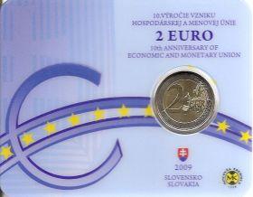 10 лет Экономическому и валютному союзу  2 евро Словакия  2009 BU Блистер