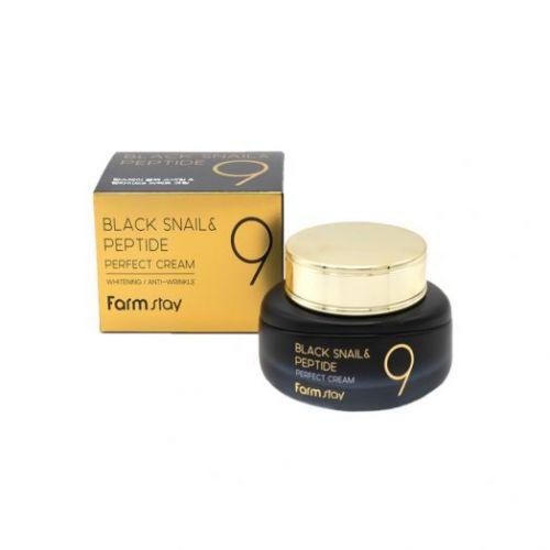 172483 FarmStay Омолаживающий крем для лица с комплексом из 9 пептидов Black Snail & Peptide9 Perfect Cream
