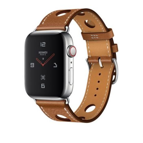 Apple Watch Hermes Stainless Steel Series 4 44mm GPS + Cellular Fauve Grained Barenia Leather Single Tour Rallye