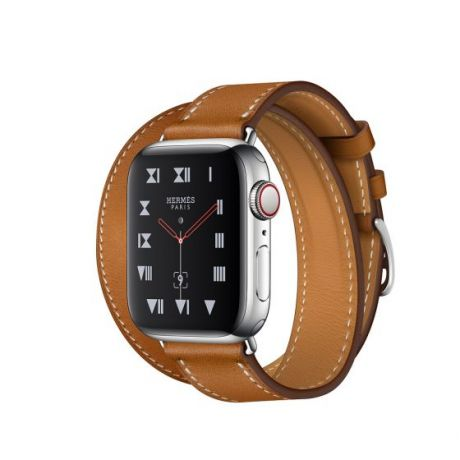 Apple Watch Hermes Series 4 Stainless Steel 40mm GPS + Cellular Fauve Barenia Leather Double Tour
