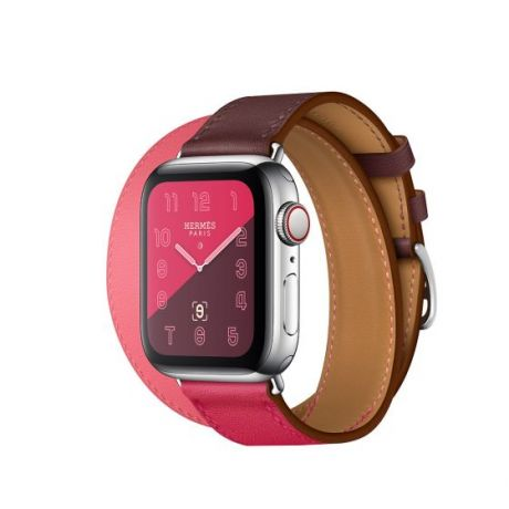 Apple Watch Hermes Series 4 Stainless Steel 40mm GPS + Cellular Bordeaux/Rose Extreme/Rose Azalee Swift Leather Double Tour