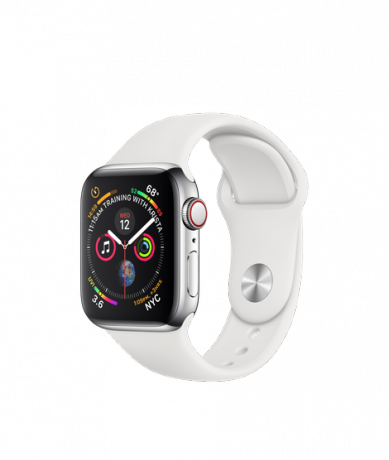 Apple Watch Series 4 GPS + Cellular 40mm Stainless Steel White Sport Band