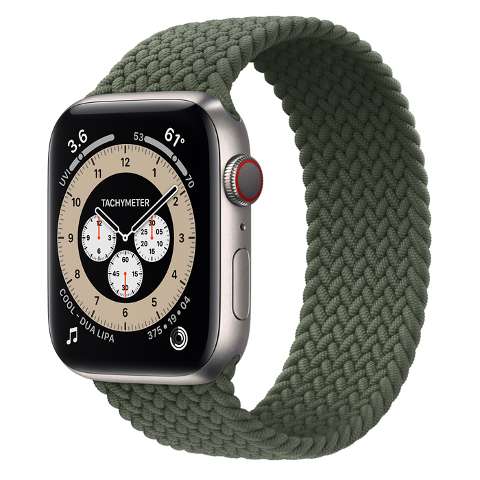 Часы Apple Watch Edition Series 6 GPS + Cellular 44mm Titanium Case with Inverness Green Braided Solo Loop