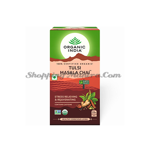 Индийский чай масала с тулси Органик Индия в пакетиках (Tulsi Masala Chai Organic India 25 Bags)