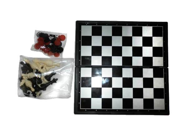 Набор 3 в 1 (шашки, шахматы, нарды) магнит-пластик 3270
