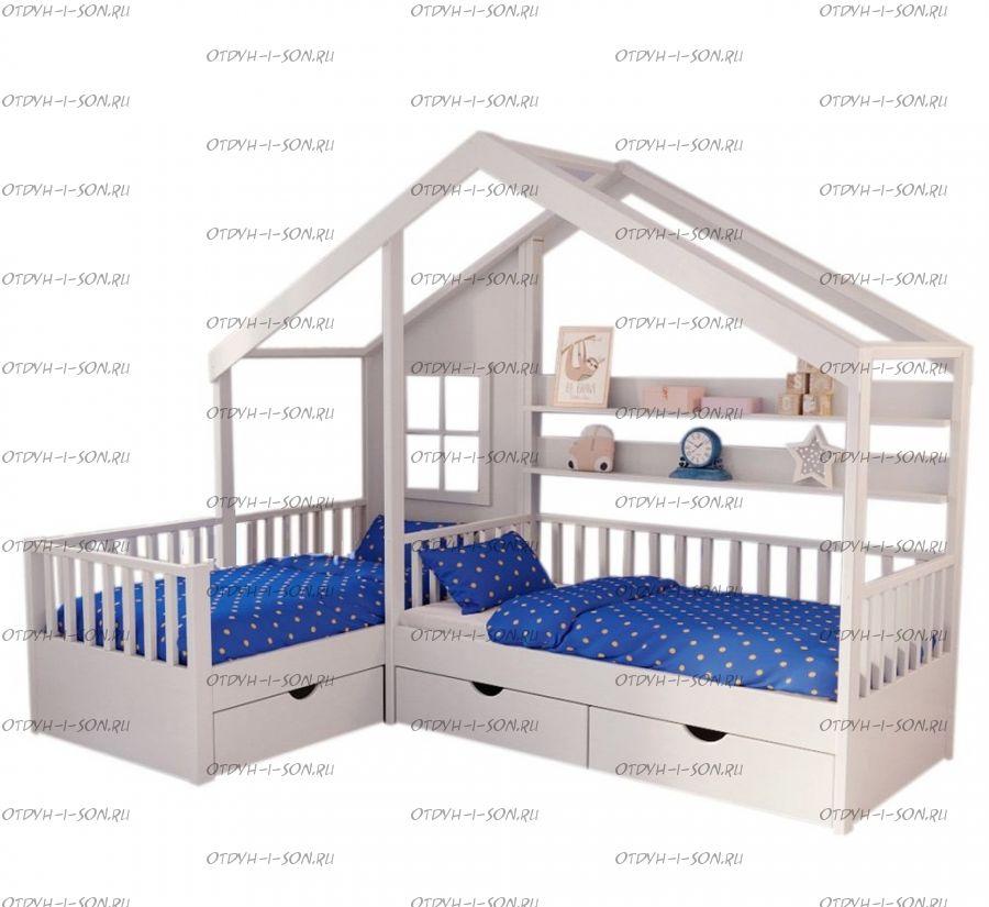 Кровать Домик Угловой Fairy Land №18F (Для Двоих Детей) любые размеры