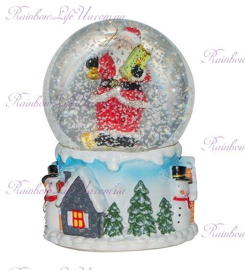 """Шар со снегом """"Санта с подарком"""""""
