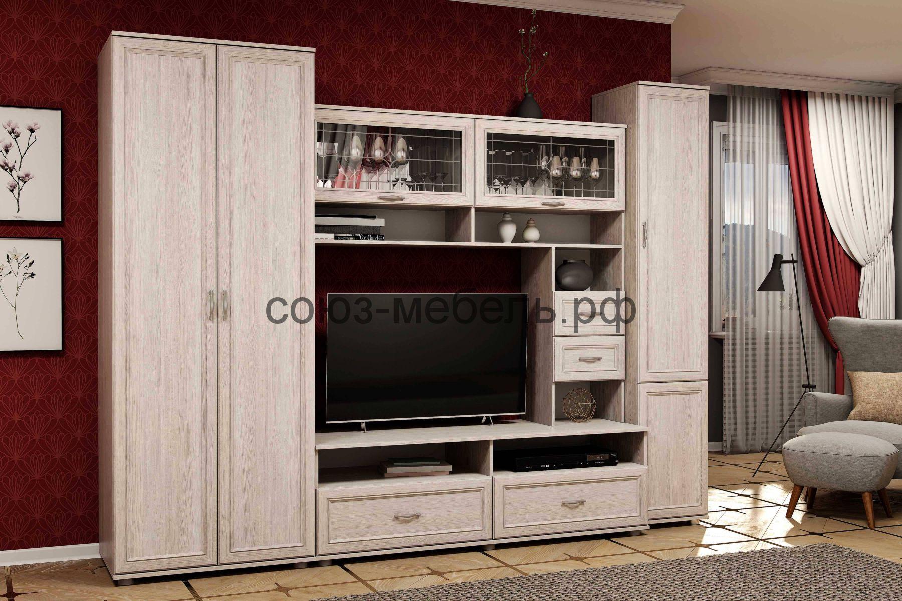 Гостиная КЛАССИКА (шкаф ШУ+витрина ШМ-4+пенал ПС)