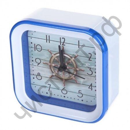 """Часы -будильник настол. Perfeo Quartz """"PF-TC-006"""", квадратные 10*10 см, штурвал"""