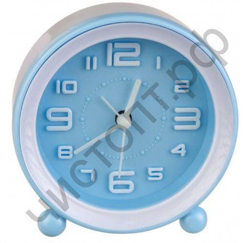"""Часы -будильник настол. Perfeo Quartz """"PF-TC-007"""", круглые диам. 10,5 см, синие"""