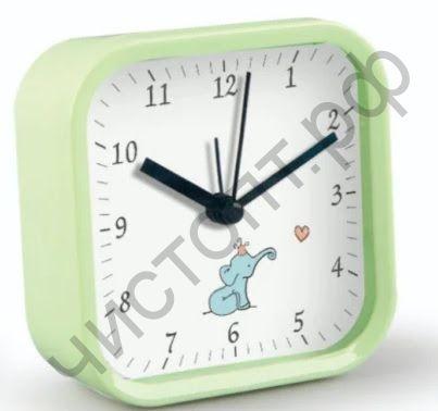 """Часы -будильник настол. Perfeo Quartz """"PF-TC-012"""", квадратные 9,5*9,5 см, зелёные"""