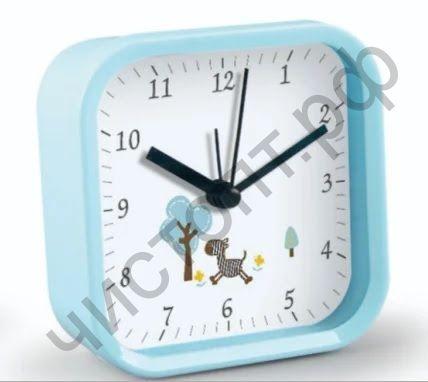 """Часы -будильник настол. Perfeo Quartz """"PF-TC-012"""", квадратные 9,5*9,5 см, синие"""