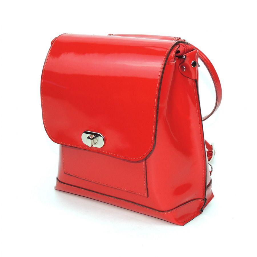 """Красная лаковая кожаная сумка-рюкзак  """"Элис"""""""