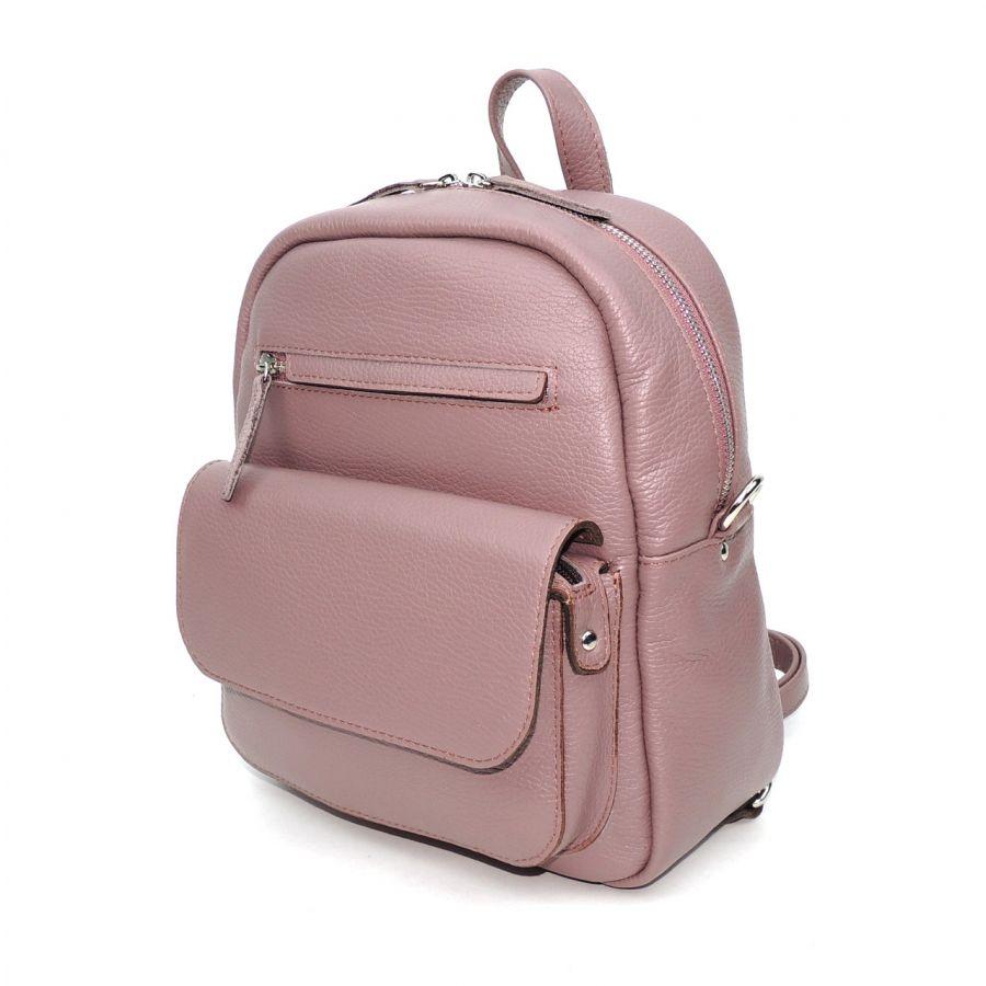 """Лиловая кожаная женская сумка рюкзак  """"Тристана"""""""