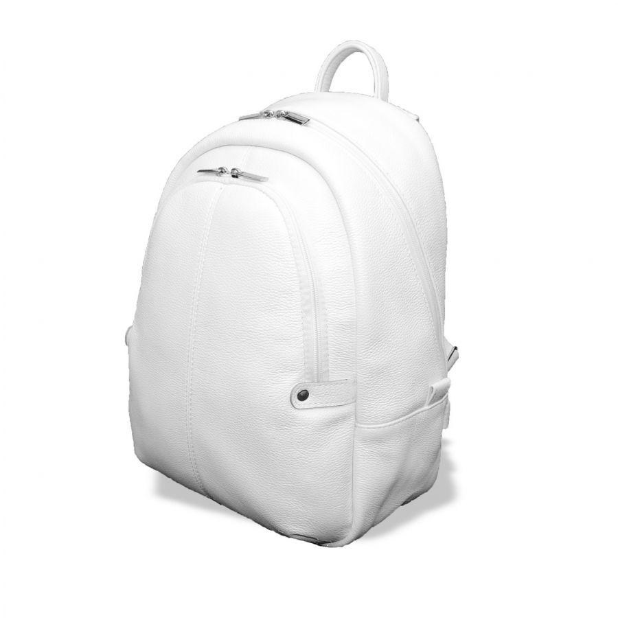 """Белый кожаный рюкзак  """"Лунный свет"""" Тисненая кожа"""