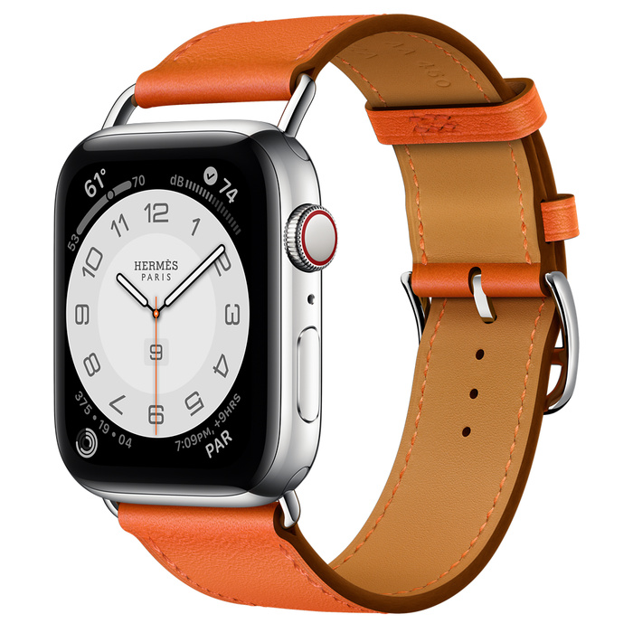 Часы Apple Watch Hermès Series 6 GPS + Cellular 44mm Stainless Steel Case (Silver) with Orange Swift Leather Attelage Single Tour