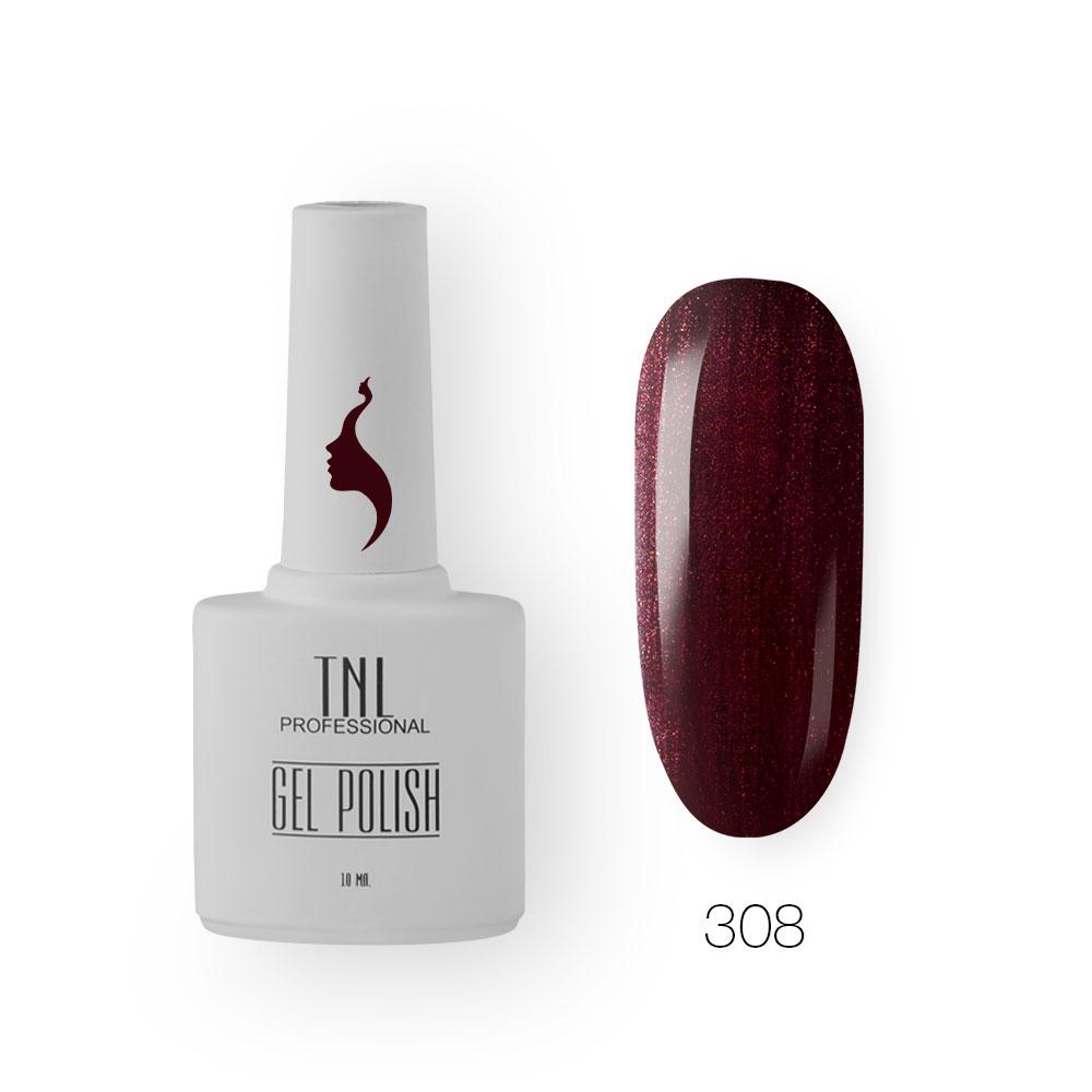 Гель-лак TNL 8 Чувств №308 - шиммерное вино (10 мл.)
