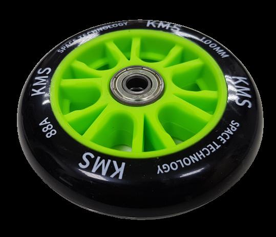 Колесо КМС 100 мм с литым пластиковым диском зеленое