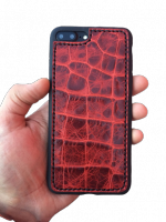 Кожаный чехол-накладка ?Красный крокодил? на iPhone
