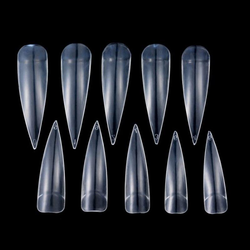 Типсы (упаковка 100 шт.) заостренные, прозрачные