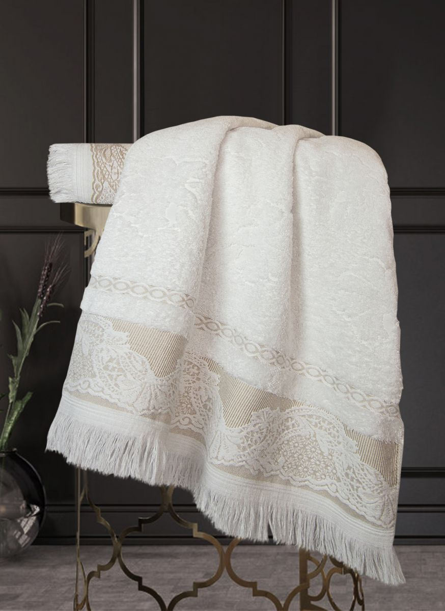 Полотенце Жизель Жаккардовый хлопок (белый/кофе) 50х90см