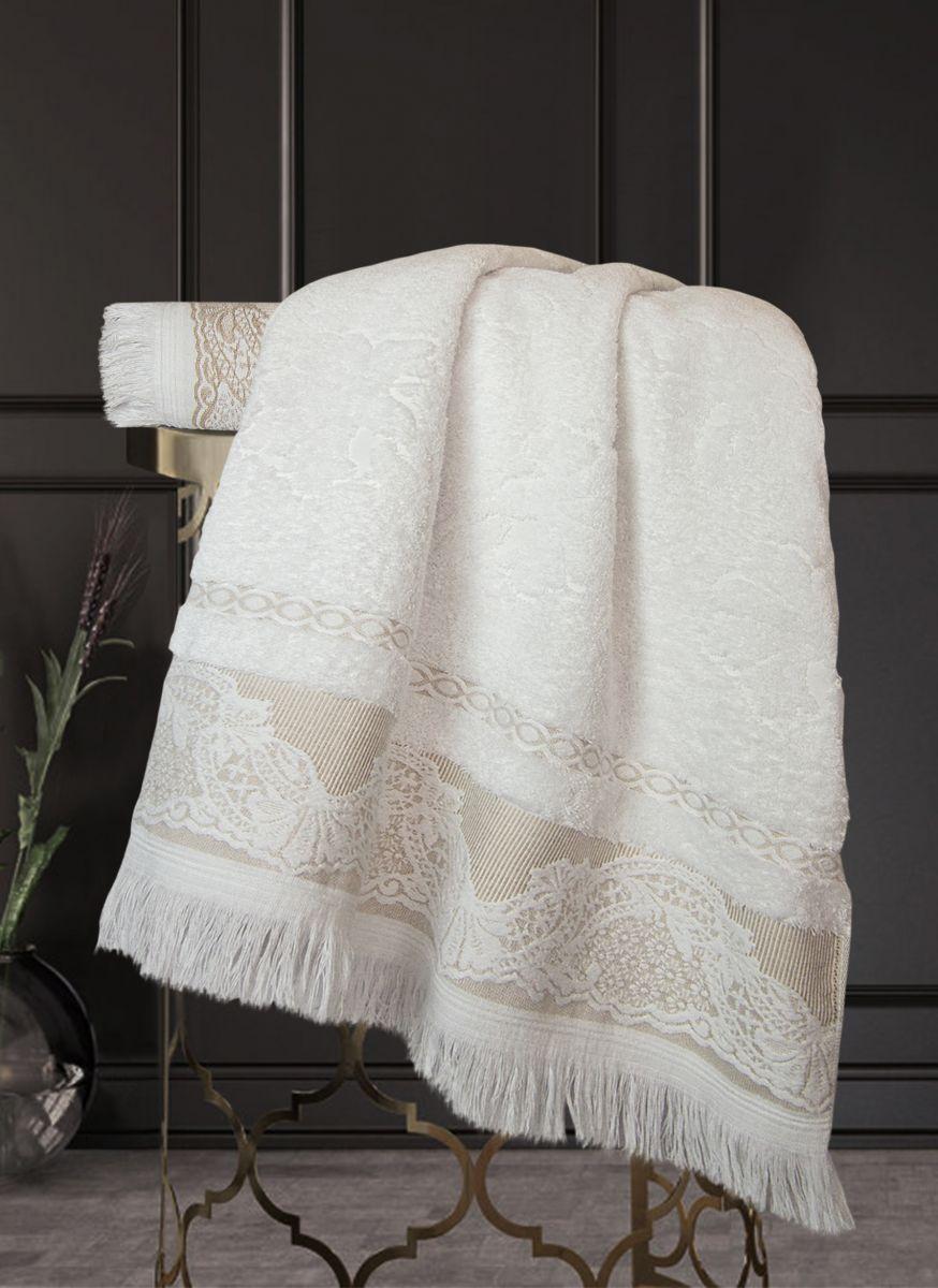 Полотенце Жизель Жаккардовый хлопок (белый/кофе) 70х140см