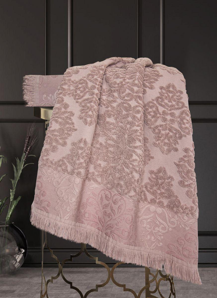 К-т полотенец Барокко Жаккардовый хлопок (старо-розовый) 70х140см(1),50х90см(1)