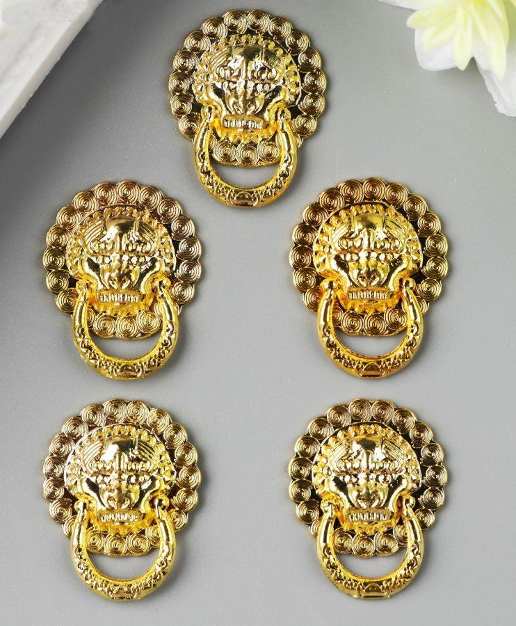 Ручка для шкатулки, Львиная голова, золото,  2,5 см