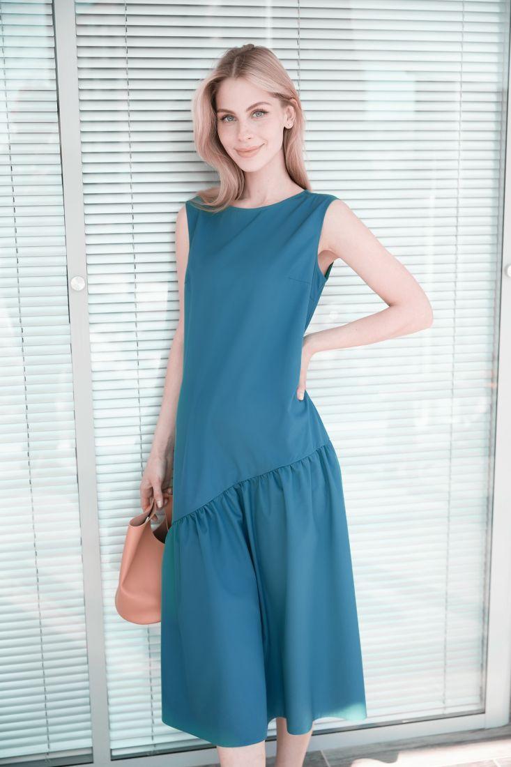 4017 Платье с асимметричным воланом в цвете морской волны