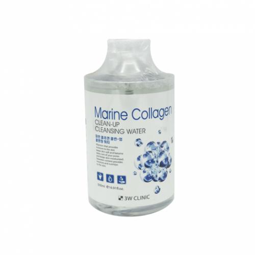 711026 3W CLINIC Очищающая вода для снятия макияжа с морским коллагеном Marine Collagen Clean-Up Cleansing Water