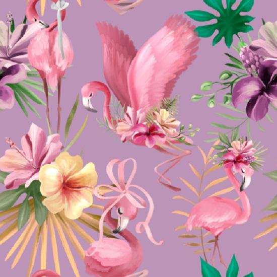 Хлопок Перкаль - Фламинго на сиреневом 50х37