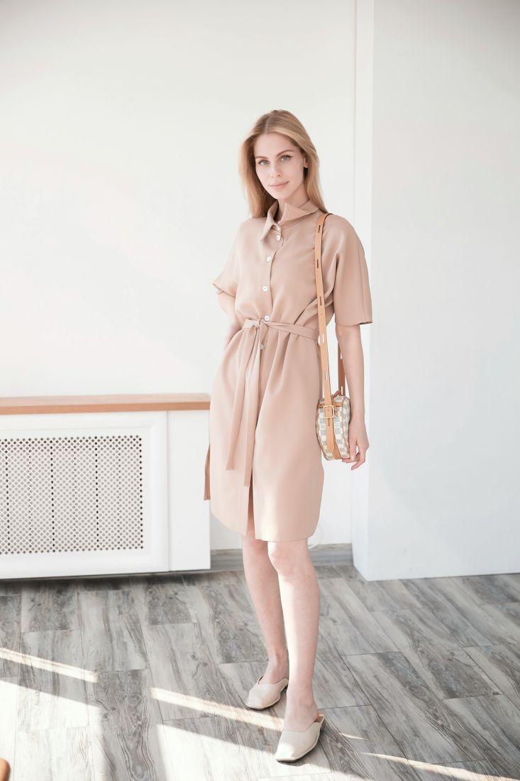 4025 Платье-рубашка в нейтральном бежевом