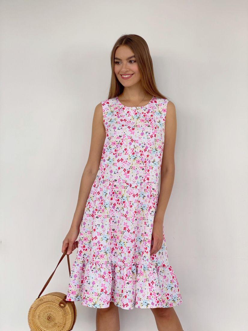 4040 Платье с воланом с милым принтом