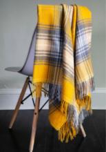 """Легкий шотландский плед, расцветка (тартан) Локкеррон, вариант """"Цветок Утёсник"""" LOCHCARRON GORSE TARTAN LAMBSWOOL BLANKET, 100 % стопроцентная шотландская овечья шерсть, плотность 6."""