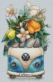 """""""Hippie van"""". Digital cross stitch pattern."""