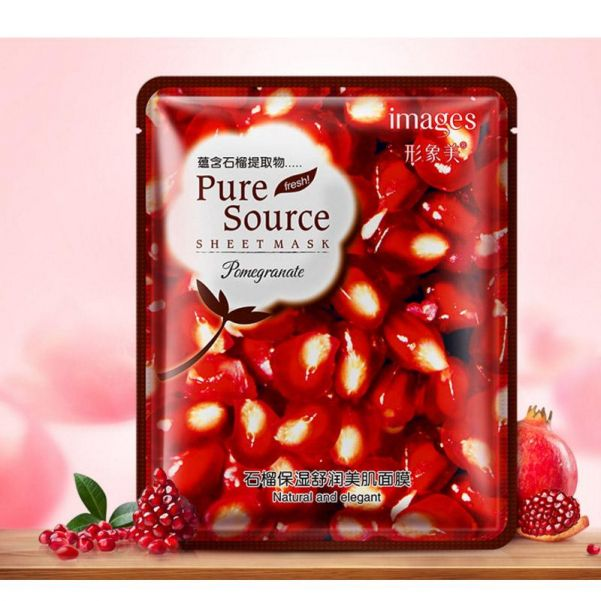 Гранатовая маска для увлажнения кожи лица Images Pure Source Sheet Mask Pomegranate