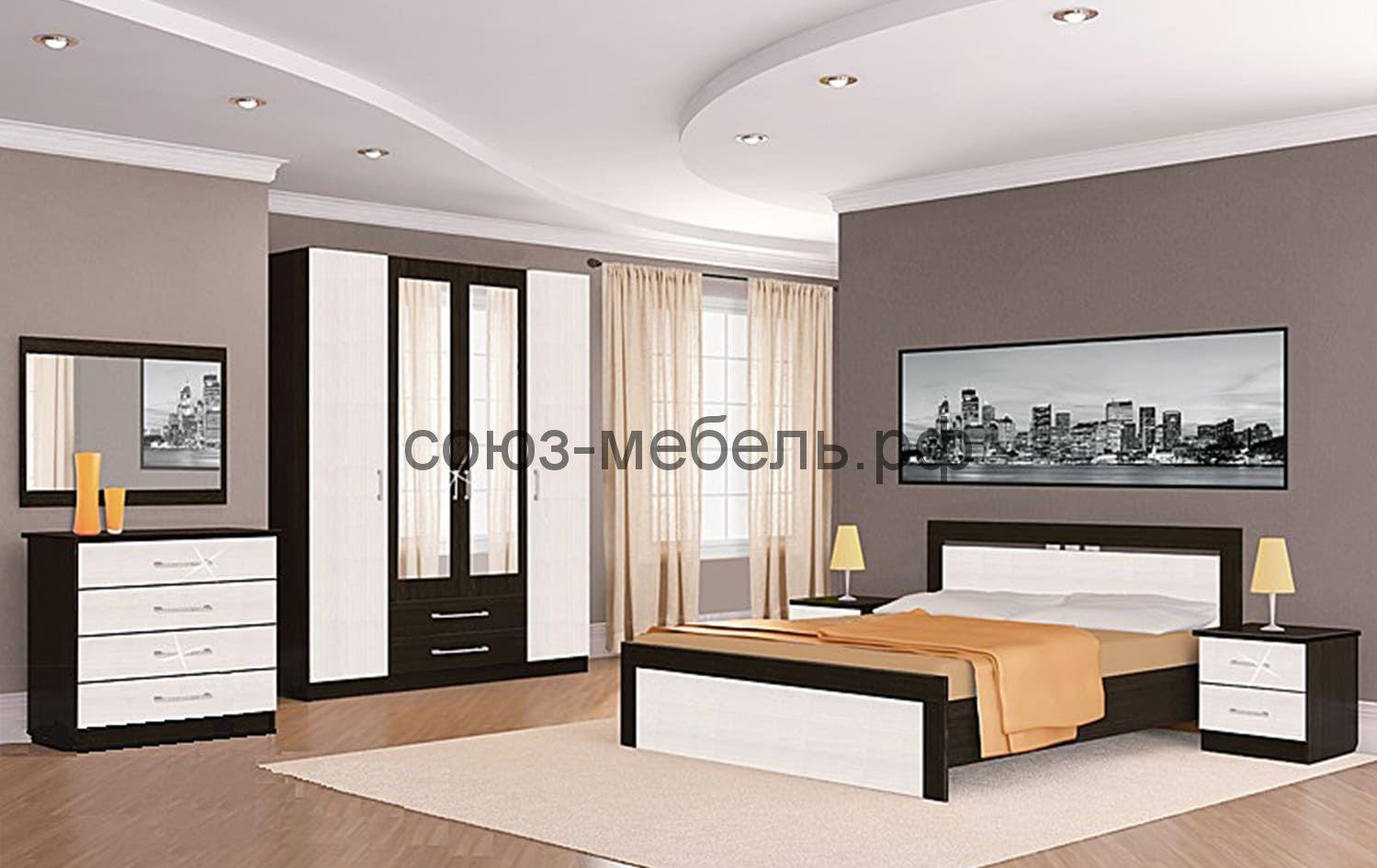 Спальня Токио (шкаф 4х+кровать №1+тумбочки 2шт+комод+зеркало)
