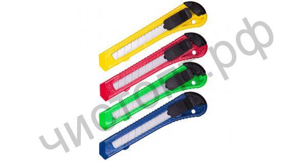 Нож канцелярский 18 мм с фиксатором цветной блистер