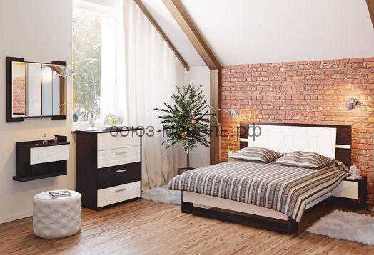 Спальня Барселона (кровать+тумбочки 2шт+комод+зеркало)