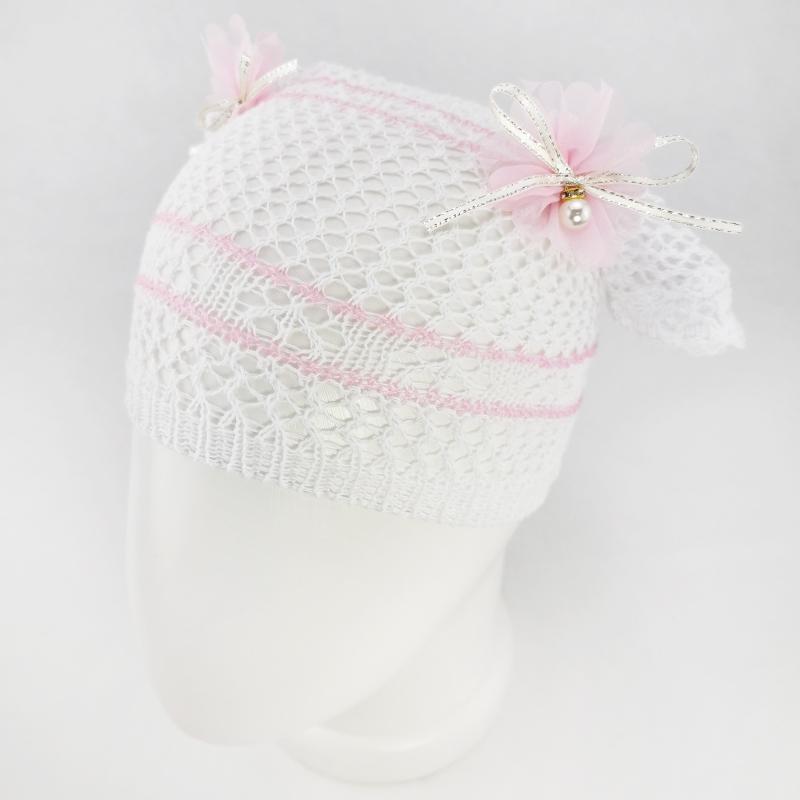 лд1307-4747 Косынка вязаная ажурная из хлопка Жемчужина розовый/розовый