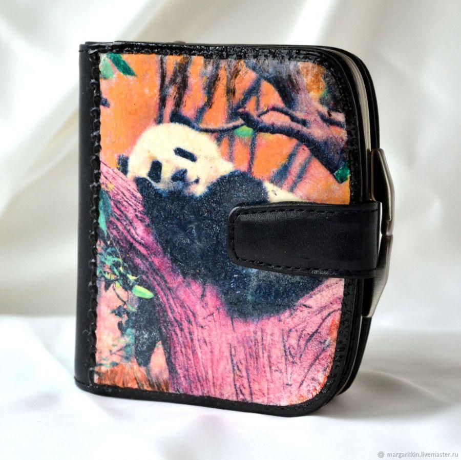 Кошелёк кожаный женский Панда