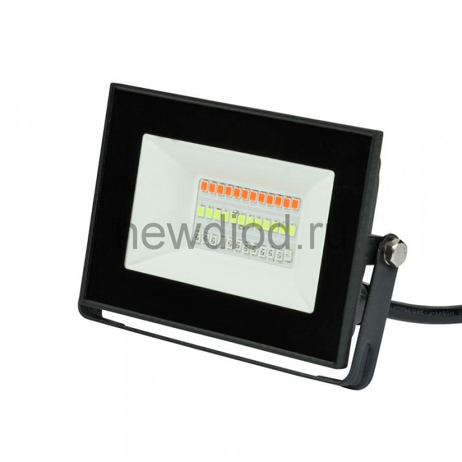 Прожектор светодиодный ULF-F60-20W/RGB IP65 200-240В BLACK мультиколор пульт ДУ (в/к) черный TM Unie