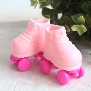 Обувь для кукол - Ролики розовые, 5 см.