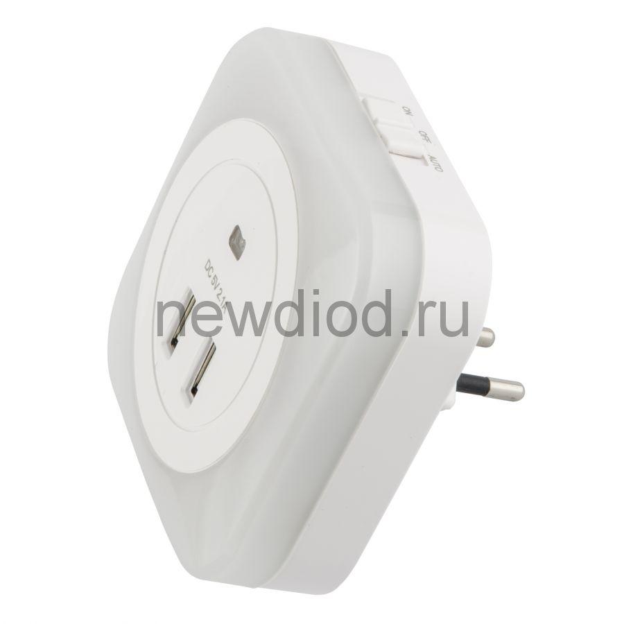 Светильник-ночник White/Sensor/2USB с фотосенсором (день-ночь) 2USB белый ТМ Uniel