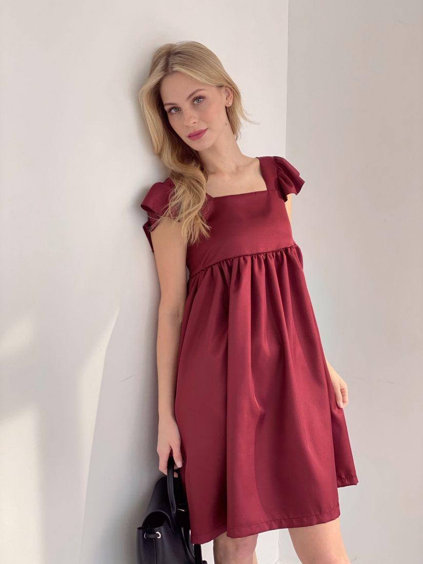 4058 Платье в стиле babydoll бордовое