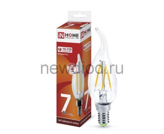 Лампа светодиодная LED-СВЕЧА НА ВЕТРУ-deco 7Вт 230В Е14 6500К 630Лм прозрачная IN HOME