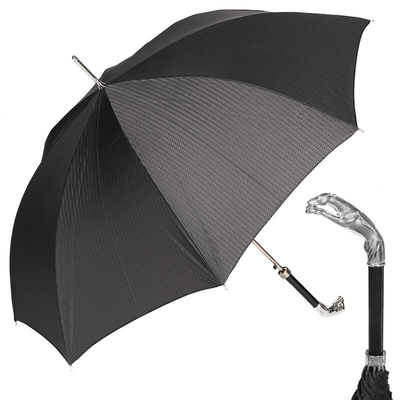 Зонт-трость Pasotti Greyhound Silver Codino Black